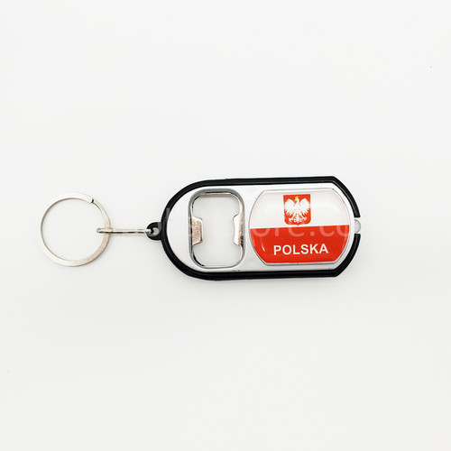 Poland Flashlight Bottle Opener Keychain