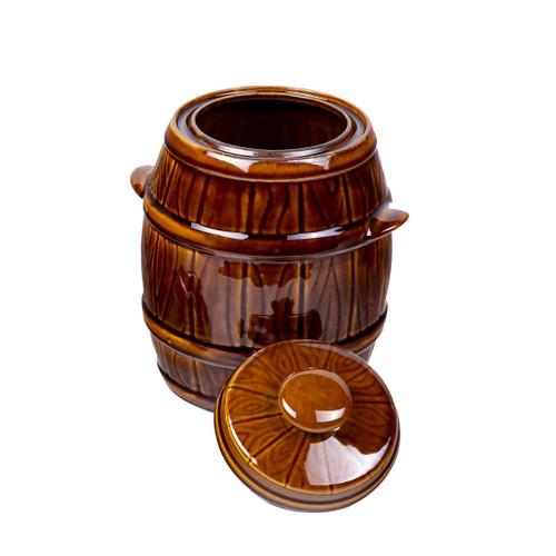 Pickles & Sauerkraut Water Cushion Stoneware Ceramic Barrel With Lid 3.5L, Baca