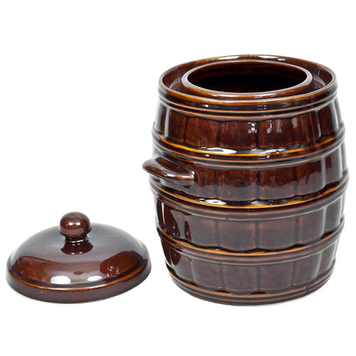 Pickles & Sauerkraut Water Cushion Stoneware Ceramic Barrel With Lid 5L