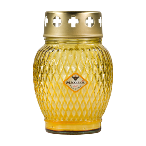 Memorial Candle -  Classic Yellow Glass, 13cm