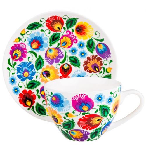 Polish Folk Irenka White Cup And Saucer