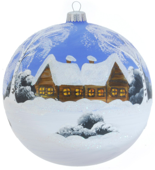 Christmas Ornament - Blue With Snow, 120mm