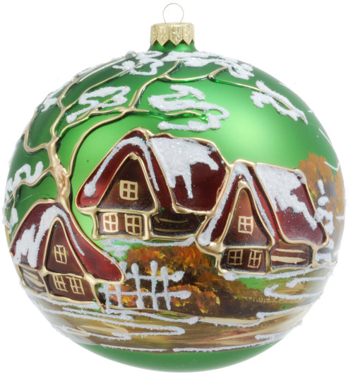 Christmas Ornament - Green With Village, 120mm
