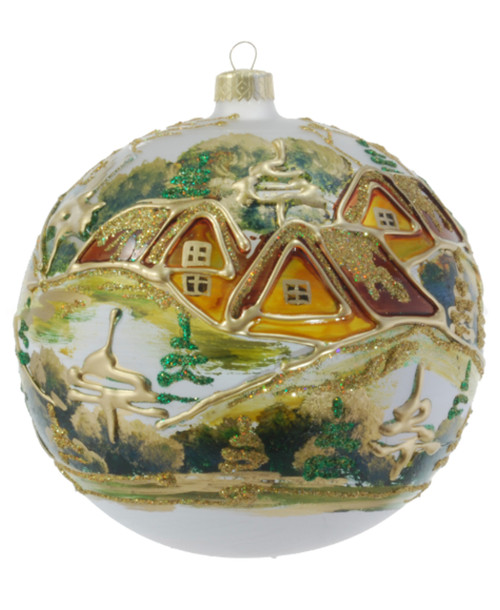 Christmas Ornament - White With Village, 120mm
