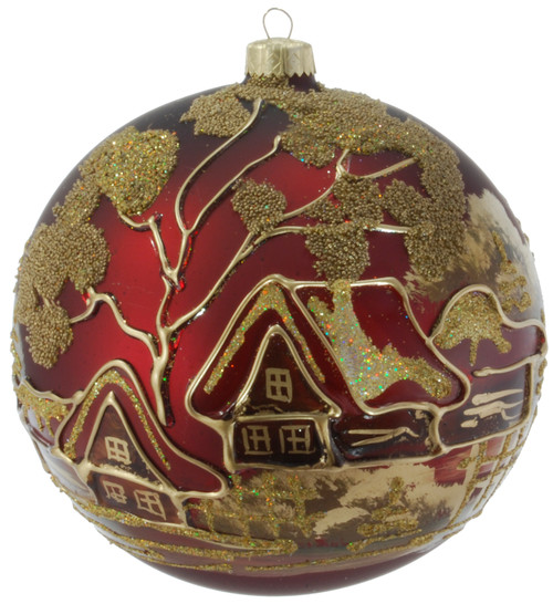 Christmas Ornament - Dark Red With Gold Tree, 120mm