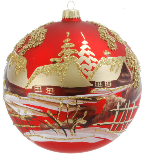 Christmas Ornament - Red With Sparkly Village, 120mm