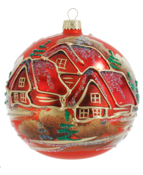 Christmas Ornament - Red With Red Village, 120mm