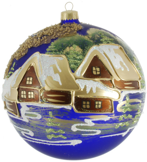 Christmas  Ornament - Blue With Brown Houses, 150mm