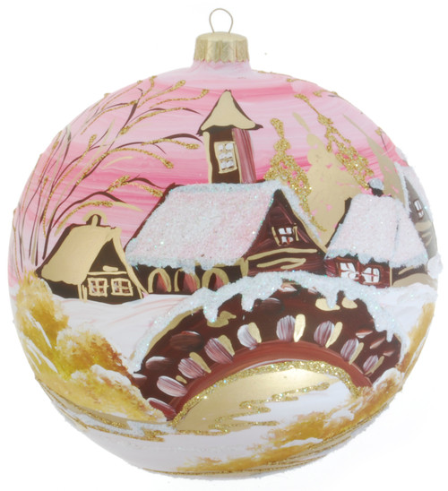 Christmas Ornament - Pink With Village, 150mm