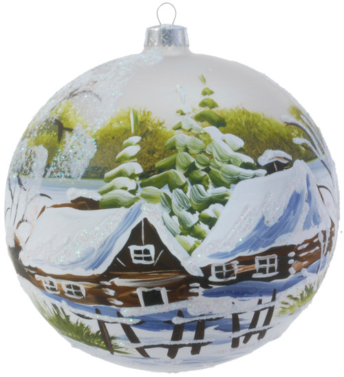 Christmas Ornament - White With Forest Village, 150mm