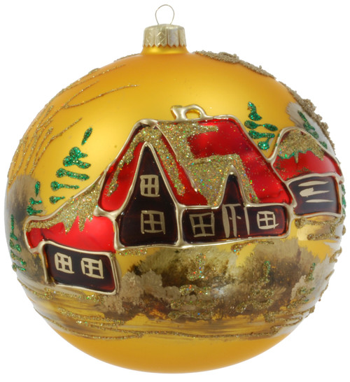 Christmas Ornament - Gold With Brown Houses, 150mm