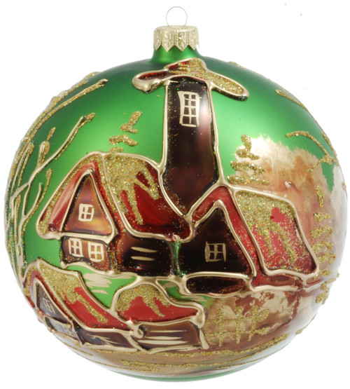 Christmas Ornament - Green With Brown Village, 150mm