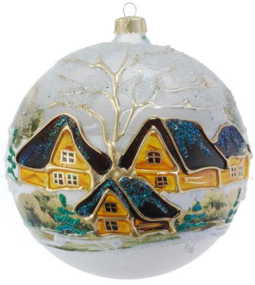 Christmas Ornament - White With Gold Village, 150mm