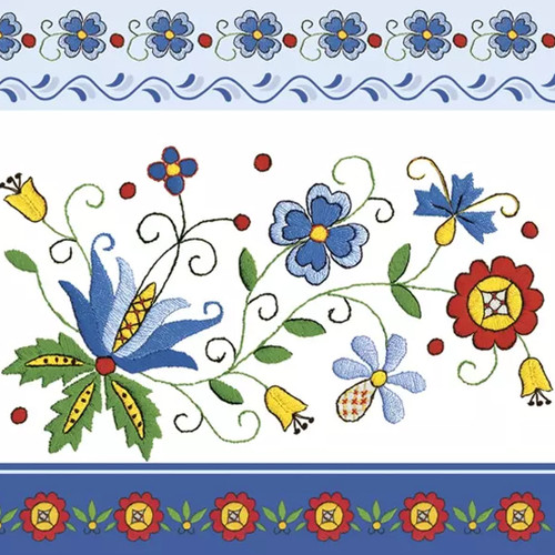 Polish Folk Flower Pattern Paper Napkins