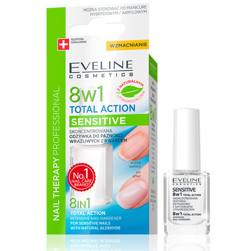 Eveline - Nail Therapy 8 In 1 Total Action Intensive Nail Hardener For Sensitive Nails With Quartz