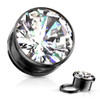 Large Center Clear CZ Black Surgical Steel Screw Fit plugs