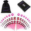 50 piece acrylic silicone Pink Colored Acrylic tapers Ear Stretching Kit