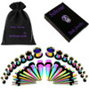 rainbow titanium ear stretching kit . tapers and plugs for ear gauging
