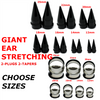 GIANT EAR STRETCHING TAPERS AND PLUGS CHOOSE ONE SIZE  4 PIECES TOTAL