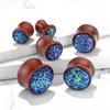 Wood Plugs With Blue Dome Druzy stone double saddle ear plugs