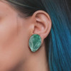 Alien Green Glass Double Flare Ear Plugs