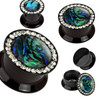Clear Gemmed Rim and Abalone Inlay Center Black Acrylic Double Flat Flare Screw Fit Plug