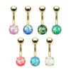 14 gauge Gold Prong Set Opal Glitter Set 316L Surgical Steel Belly Button Rings