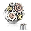 Steampunk Geared 3 tone 316L Surgical Steel Double Flared ear  Tunnels