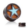 Star Crushed Turquoise Filled Organic Sono Wood Double Flared Saddle Plugs