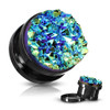 Black plugs with Blue Druzy Stones Stainless Steel screw back