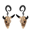 Black  horn Bull Skull  weighted spiral hook hangers surgical steel