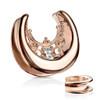 rose gold Floral Filigree Princess  Cz Gem Center Saddle ear  Spreader plugs  All 316L Surgical Steel