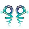 Cork Screw Matte teal green gold flake glass spiral ear taper hangers