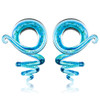 Cork Screw Blue gold flake glass spiral ear taper hangers