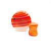 orange red line agate stone ear plugs double saddle gauges