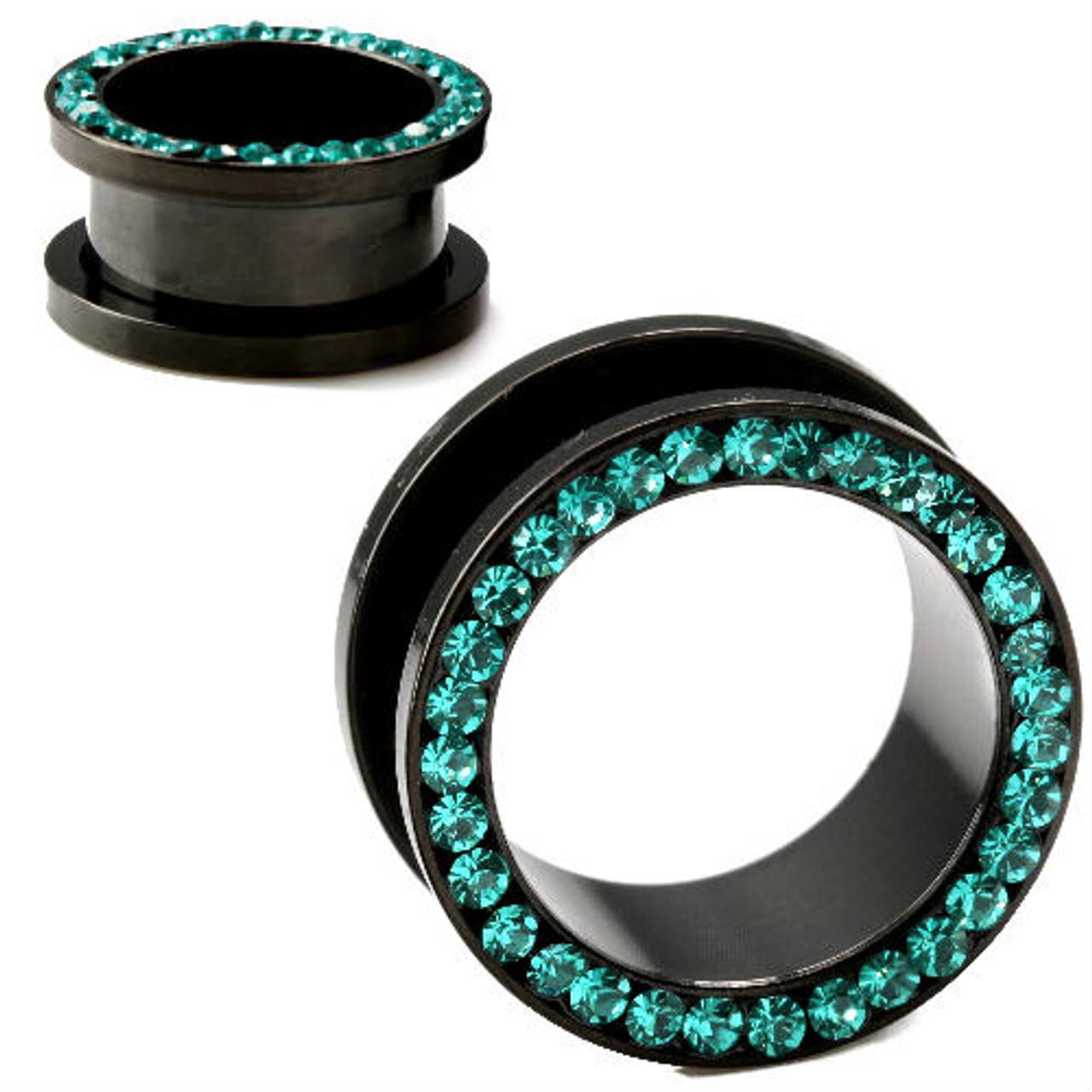 021fd79c1 Black Titanium Screw Back Ear Tunnels With TEAL CZ Gems - So Scene