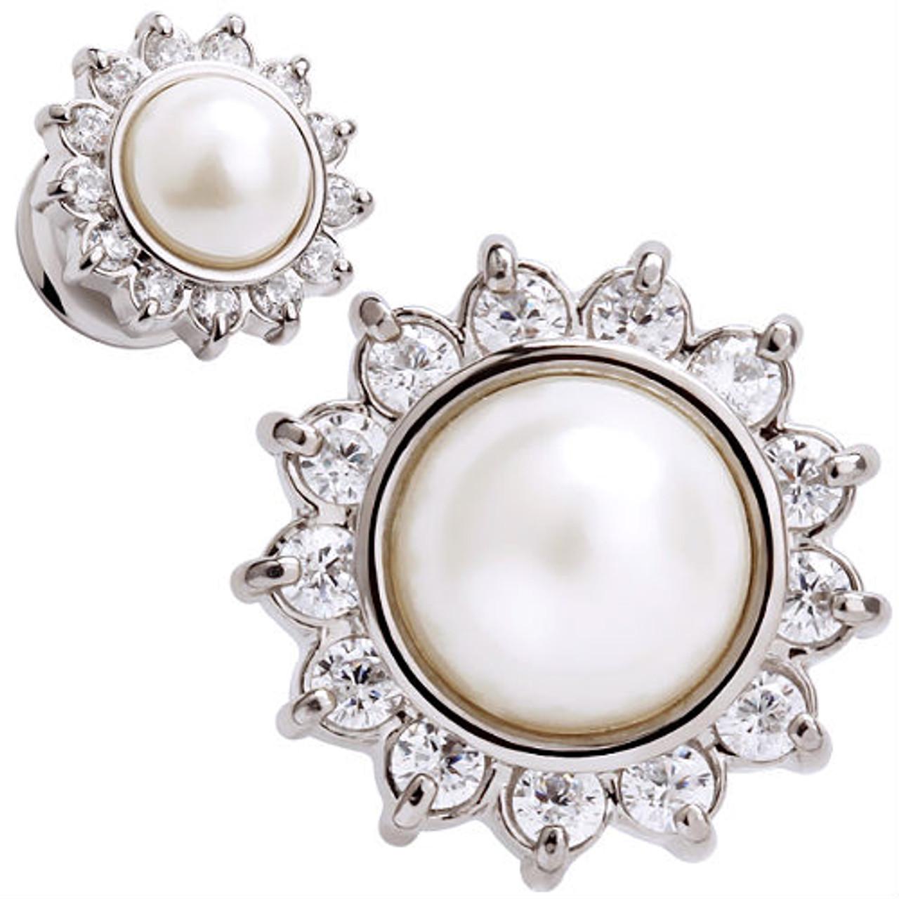 Titanium Pearl Large Earrings Flower Pearl /& Cz Multi Stone Earrings 18mm