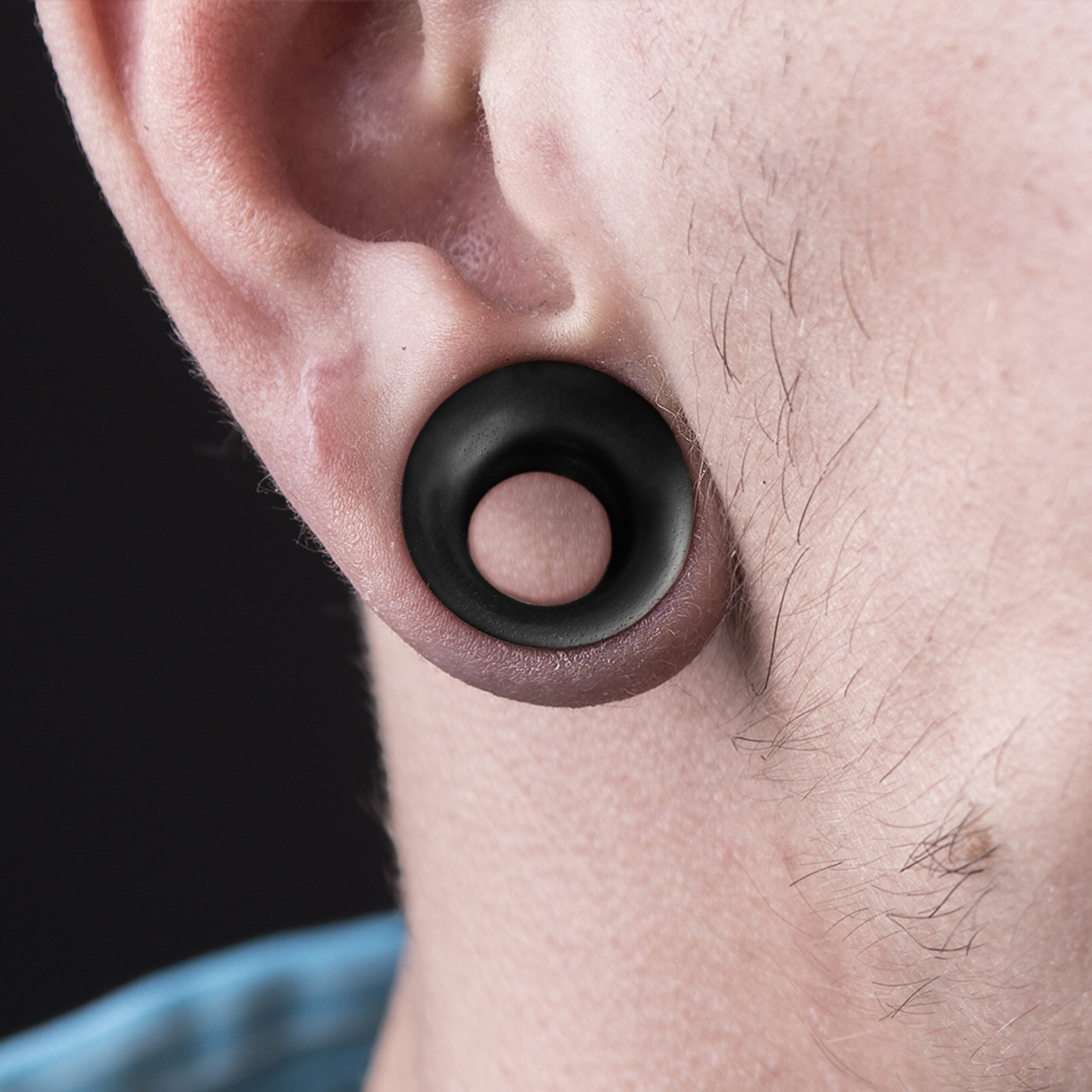 1 PAIR Ear Plugs Gauges Black Areng Wood Concave Double Flare Organic Tunnels