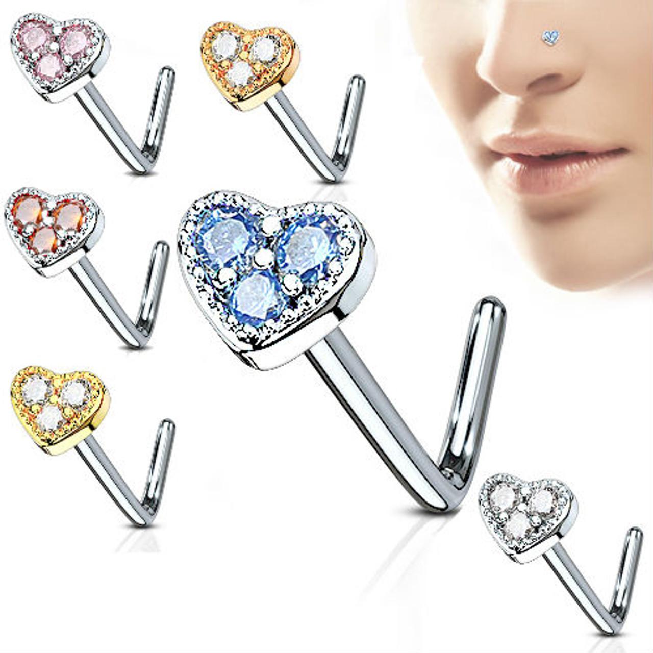 L Bend 20g Nose Ring Stud Screw Cz Gem Paved Heart Cz Gem 316l