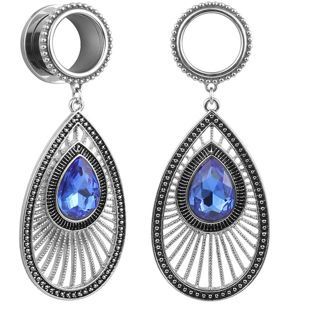 Dangle Fan royal blue gem Oval stainless steel screw back ear plugs