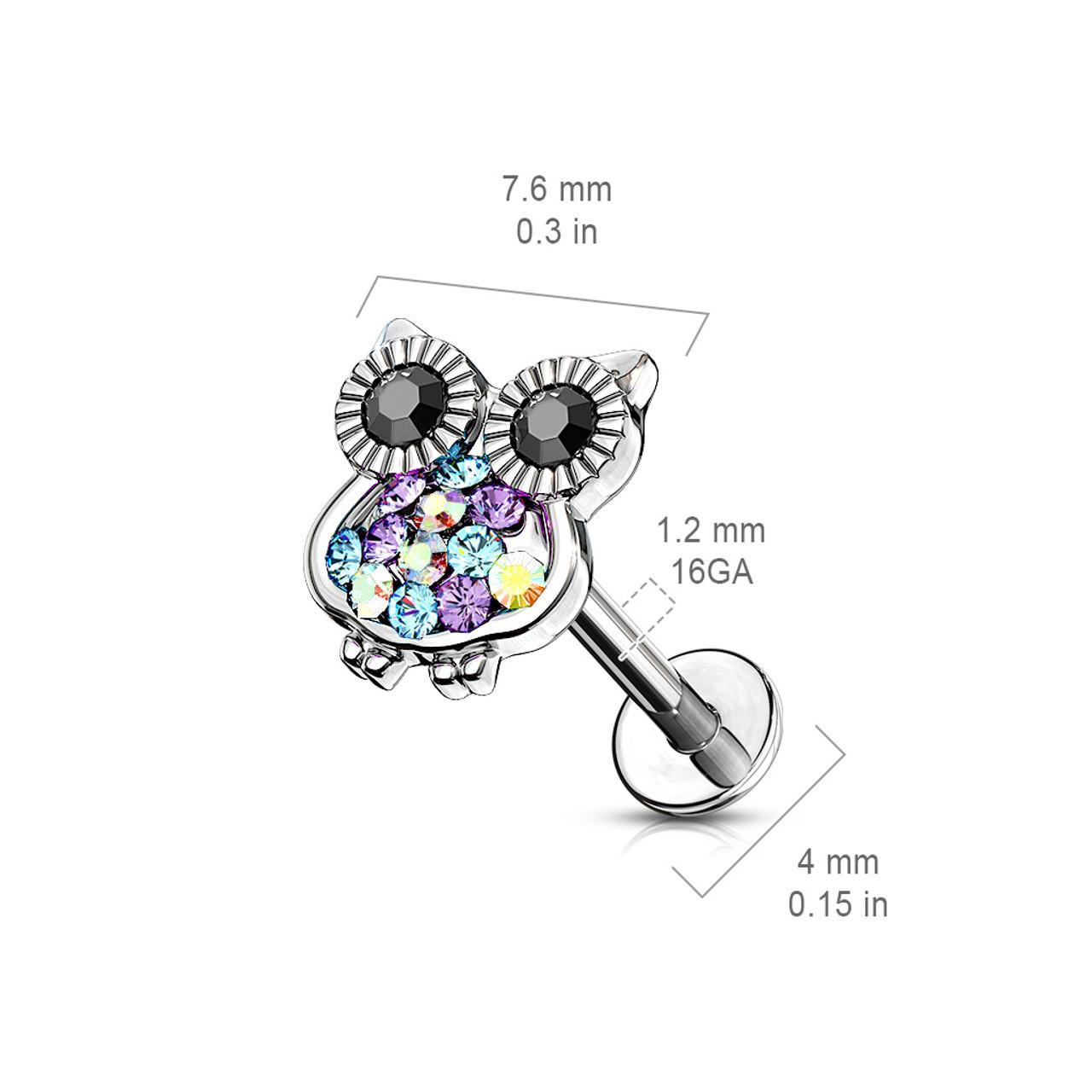 Pierced Owl Double Tiered CZ Crystal Flower Top Labret Monroe Cartilage Ear Stud