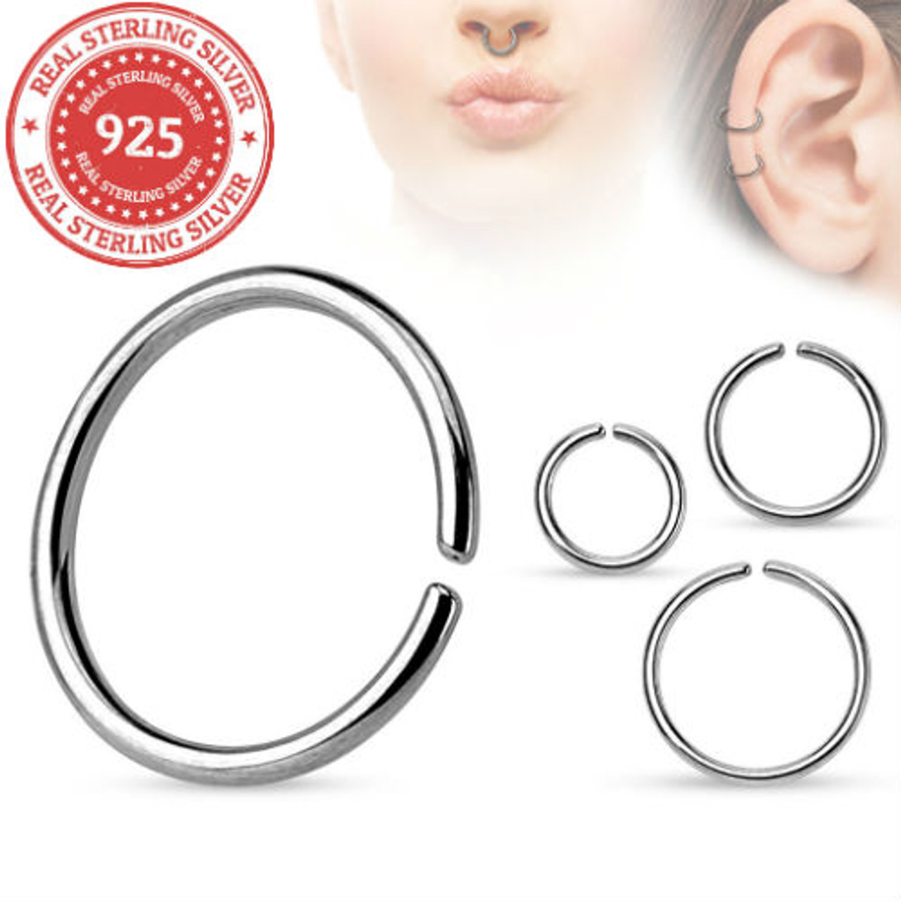 925 Sterling Silver Nose Ring Continuous Seamless Hoop Bendable 16