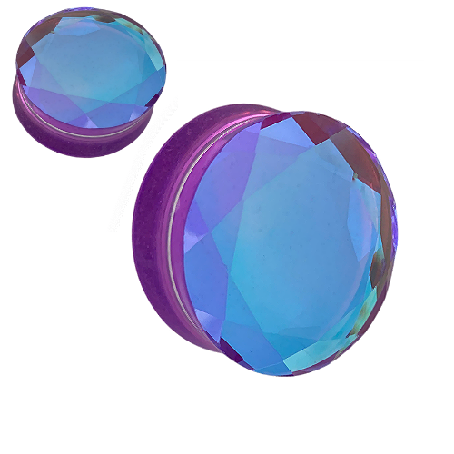 Faceted Purple  Aurora Borealis Glass  Double Flare ear plugs