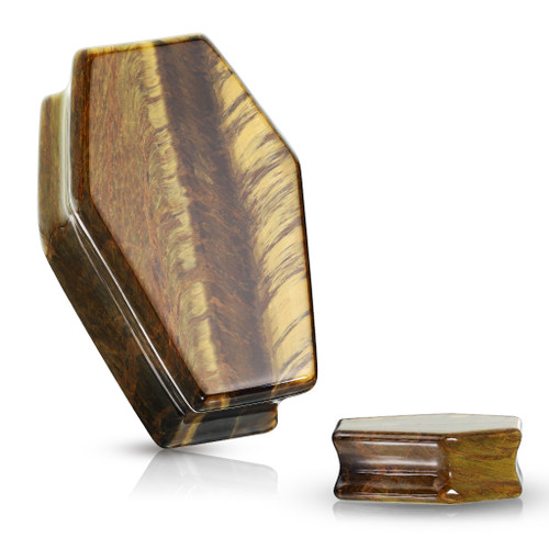 Coffin Shaped Tigers Eye  Organic Stone Ear Gauges