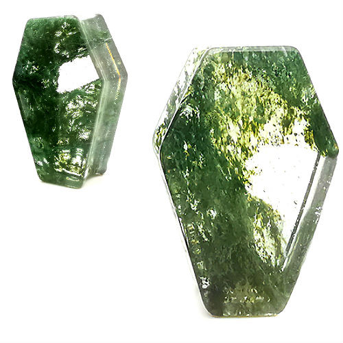 Coffin Shaped Moss Quartz  Organic Stone Ear Gauges