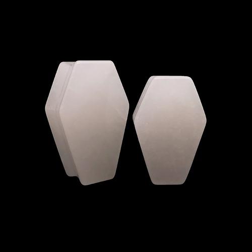 Coffin Shaped White Quartz Organic Stone Ear Gauges