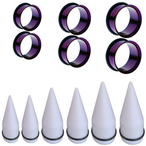 White Tapers Purple Titanium Plugs Large acrylic taper ear stretching kit