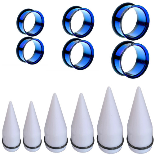 White Tapers Blue Titanium Plugs Large acrylic taper ear stretching kit