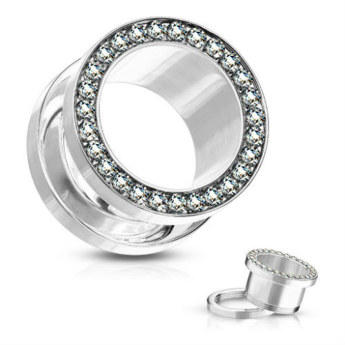 Clear Cubic Zirconia Lined Rim 316L Surgical Steel Screw Fit Flesh Tunnel