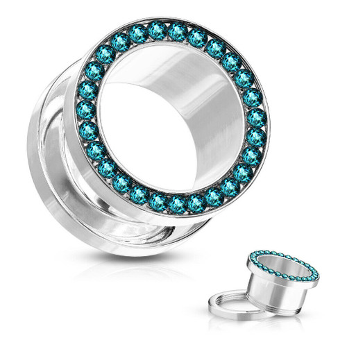 Teal Cubic Zirconia Lined Rim 316L Surgical Steel Screw Fit Flesh Tunnel